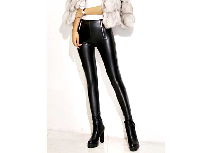 модные кожаные брюки для женщин