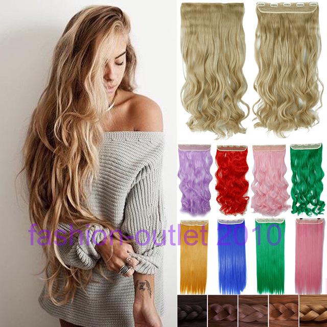 60 СМ Клип в Синтетических Наращивание Волос Длинные Волнистые Вьющиеся Волосы Одна Часть 5 Клипов Блондинка Коричневый Гладкая