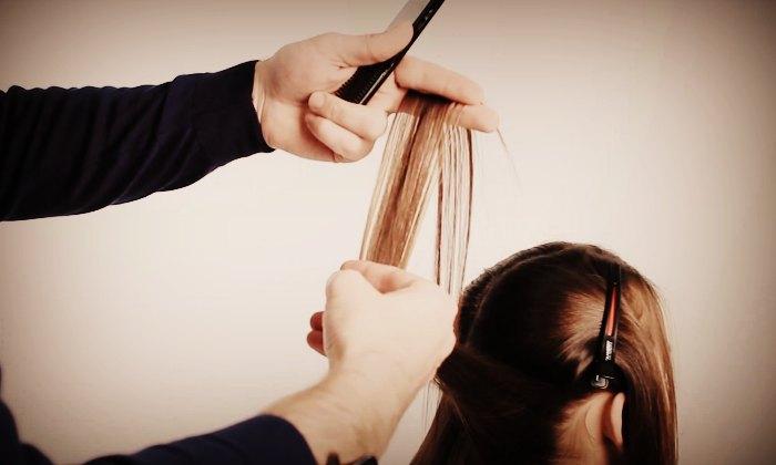 Стрижка секущихся кончиков волос