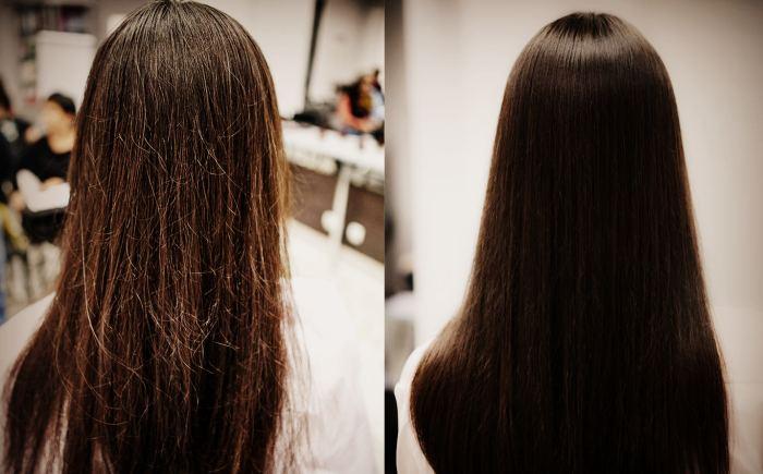Результат шлифовки волос