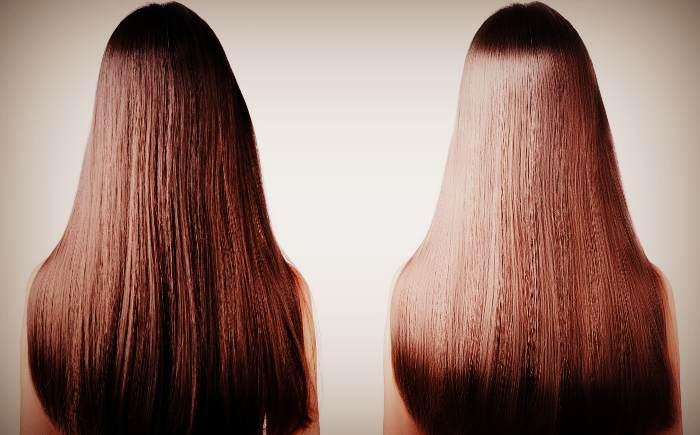 Волосы до и после применения оливкового масла