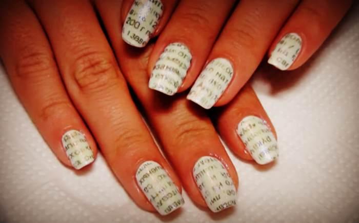 Газетный маникюр: простой и оригинальный способ украшения ногтей
