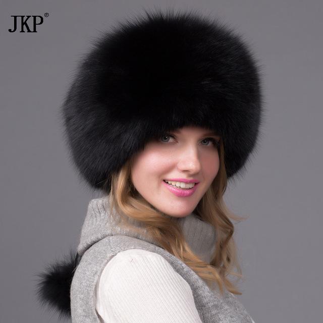 Натуральная с натуральным лисьим мехом шляпа Для женщин Кепки густой мех Кепки зима теплая шапка женская мода для Для женщин шляпа с наушники Hat