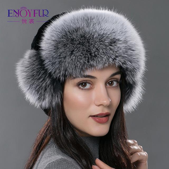 Женские меховые бомер hat для зима естественно кролика рекс серебро лисий мех открытый шапки для женщин уха защита русский мех шляпа