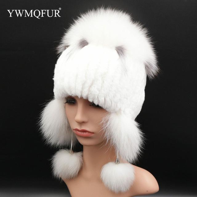 Зимние толстые вязаные Для женщин шапка лиса и кролика Утепленная одежда модные белые Цвет шапочки Женские шапки с бесплатной доставкой YWMQFUR