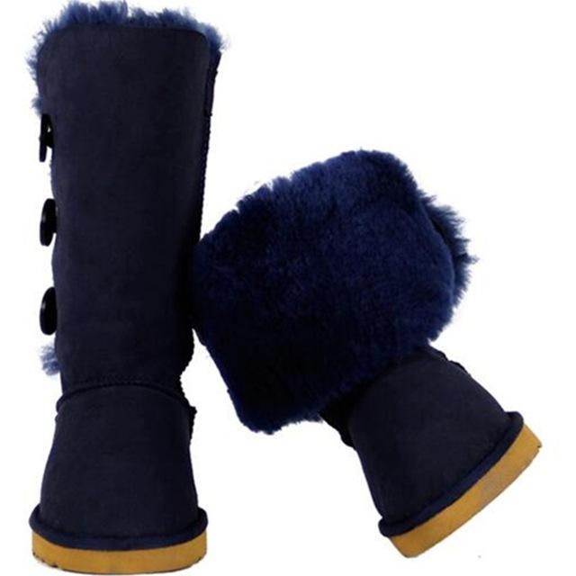 Zqzh сапоги ug Австралия зимняя обувь Женские ботинки кожа классический кнопки колена облегающие зимние сапоги угги женская обувь Австралии меха