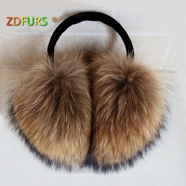 ZDFURS * негабаритных действительно большой из меха енота наушники корейский натуральный мех наушники прекрасный личность плюшевые мех крышка уха теплая