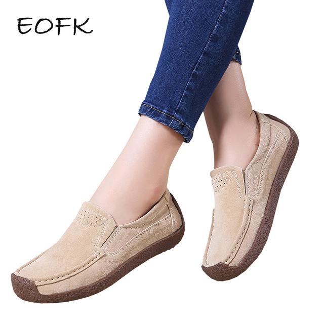 EOFK/Новый Демисезонный женские мокасины Для женщин Туфли без каблуков из натуральной замши женская обувь женские лоферы обувь без застежек на плоской подошве