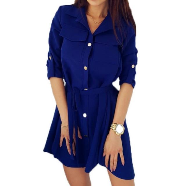 Модные рубашки платье отложной воротник Весна Осенние платья XXL кнопки свободные Для женщин платья Повседневное деловая модельная одежда GV118