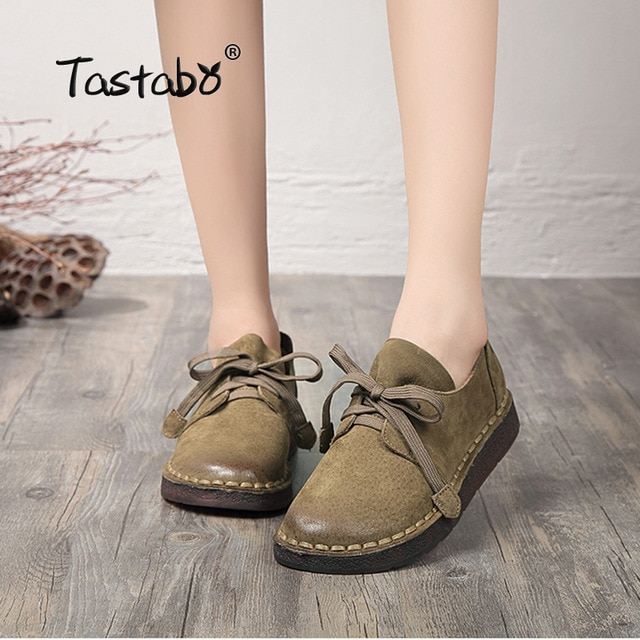 Tastabo из натуральной кожи обувь на плоской подошве для беременных женская обувь для мам обувь для вождения женские мокасины модные женские туфли на плоской подошве ручная швейная обувь