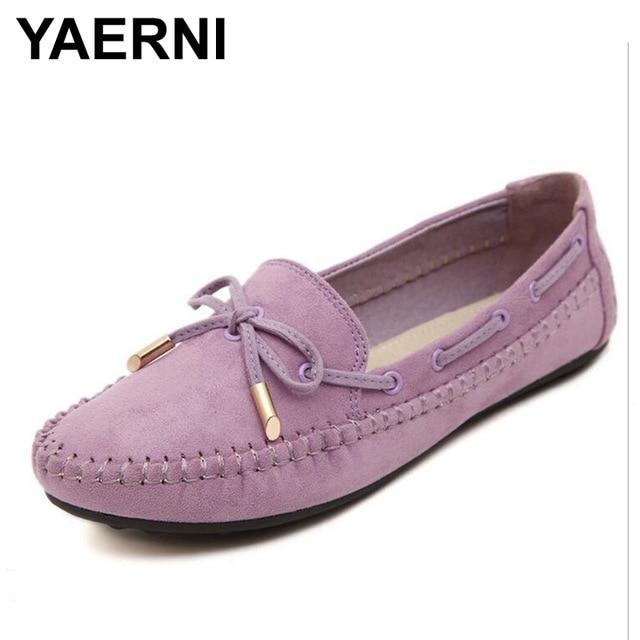 YAERNI женская обувь на плоской подошве Повседневное бабочкой Лоферы сладкие конфеты Цвета Туфли без каблуков сплошной Женская летняя обувь Мокасины Женская обувь плюс Размеры