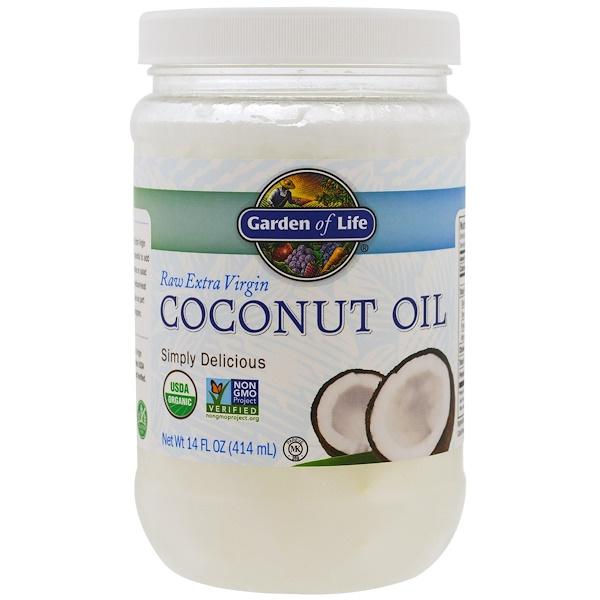 Garden of Life, Цельное кокосовое масло первого отжима, 14 жидких унций (414 мл)