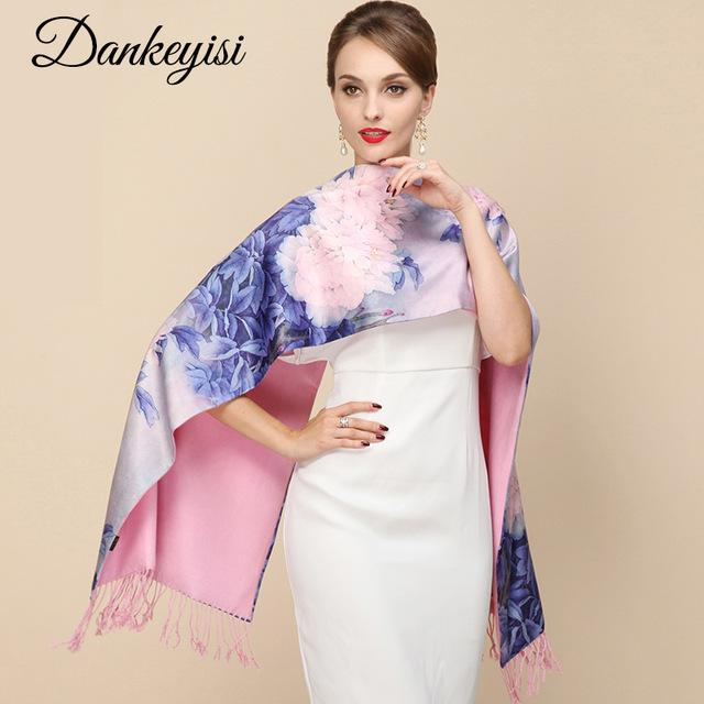 DANKEYISI 2018 модный дизайнерский женский большой шарф женский бренд обертывания настоящие двухэтажные плотная бахрома осень зима шаль шарфы