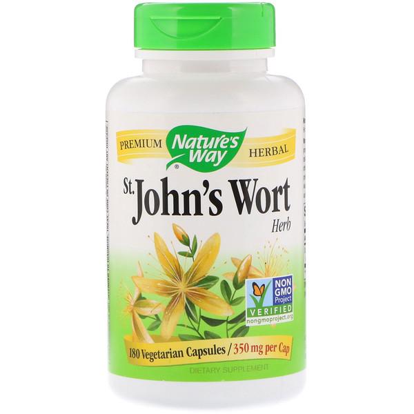 Nature's Way, Зверобой, 350 мг, 180 вегетарианских капсул