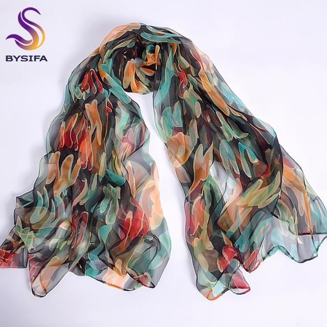 Новый Синий Оранжевый Шелковый шарф с принтом 2016 новый бренд 100% чистый шелк шарфы обертывания весна осень женские большие размеры длинные шарфы