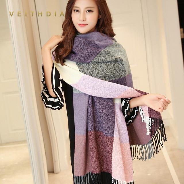 VEITHDIA 2018 осень зима женский шерстяной шарф для женщин кашемир шарфы для широкий решетки длинная шаль обёрточная бумага одеяло теплый палантин