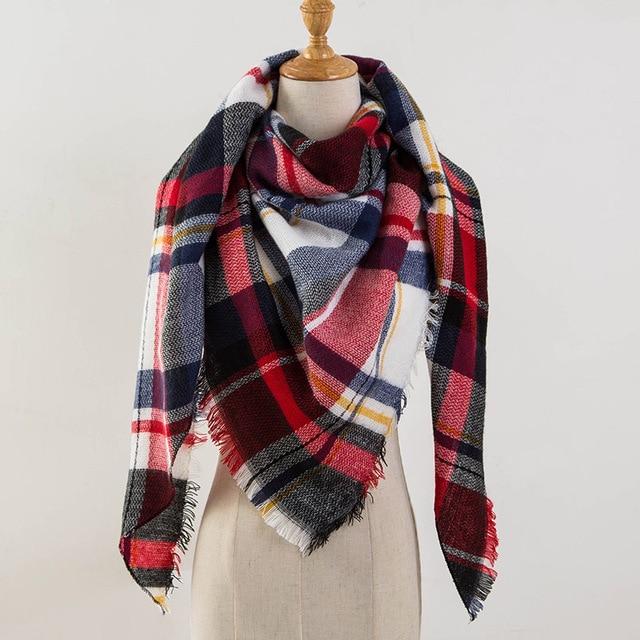зимний шарф женский кашемира шарфы женские 2018 люксовый бренд плед шарф женский модные шерсть платок женский теплый мягкий шарфы палантины треугольника модные шерсть платки палантины женский шарф