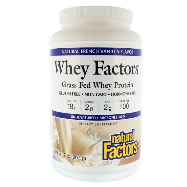 Natural Factors, Whey Factors, сывороточный белок от коров, вскормленных травой, со вкусом натуральной французской ванили, 2 фунта (907 г)