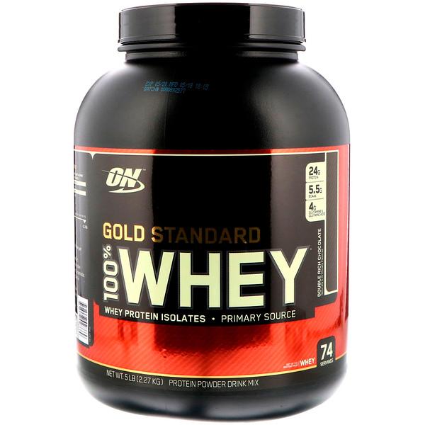 Optimum Nutrition, 100% сыворотка, золотой стандарт, двойной шоколад, 5 фунтов (2,27 кг)
