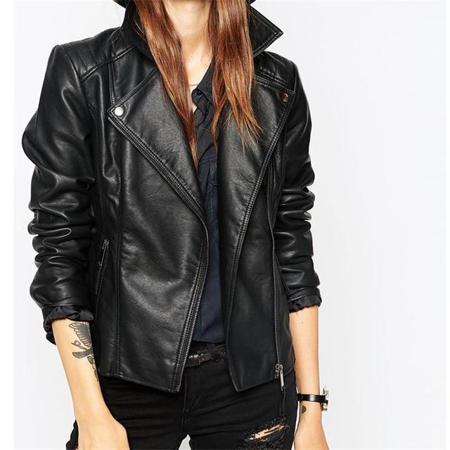 2017 новая мода осень уличная женская короткая промытая куртка из искусственной кожи на молнии яркие цвета новые женские Базовые Куртки хорошего качества
