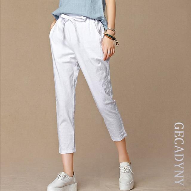 2018 новые летние женские повседневные штаны капри модные хлопковые льняные Короткие топы и брюки с эластичной талией шаровары брюки Размер 4XL