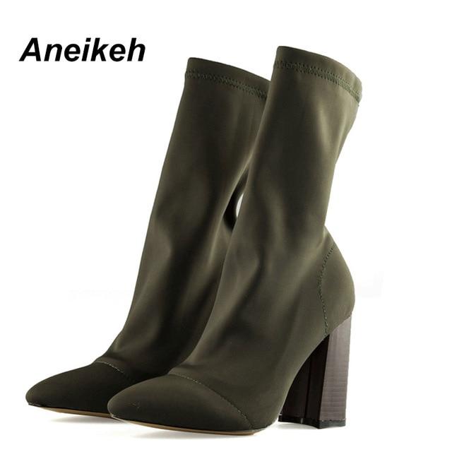 Aneikeh/женские ботинки с острым носком из пряжи, эластичные ботильоны, обувь на толстом высоком каблуке, женские носки, ботинки, весна 2019