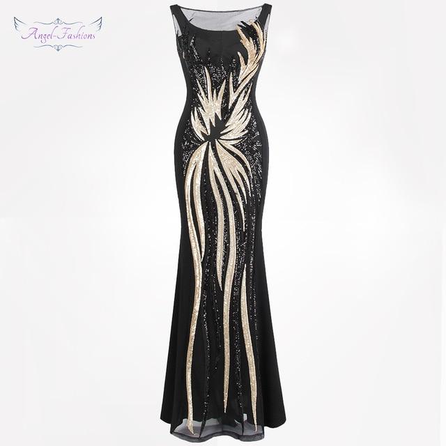 Angel-моды Для женщин Sheer Вечерние платья с круглым вырезом Винтаж блесток сплайсинга платье золото 403 вечерние Kleid