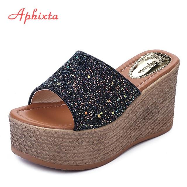 Aphixta летние тапочка на платформе s на платформе и высоком каблуке женские тапочки женская уличная обувь Базовая Клог тапочка на платформе Вьетнамки Сандалии