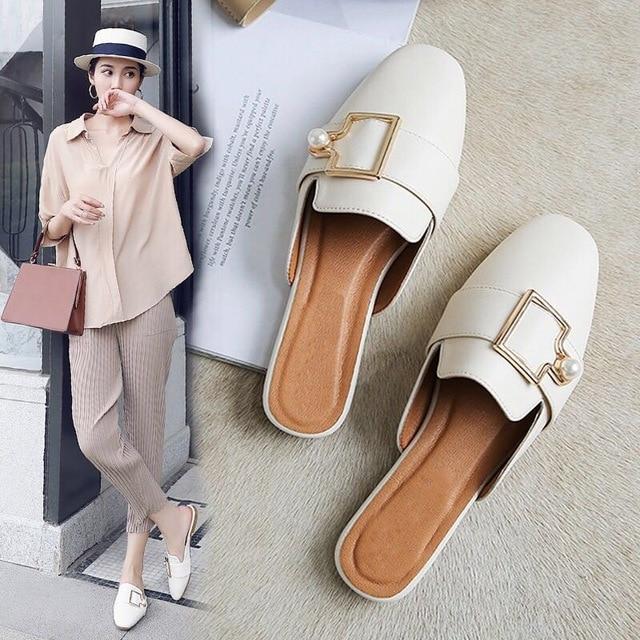 Bailehou/женские брендовые тапочки на плоской подошве, женская повседневная обувь, шлёпанцы с жемчужной пряжкой, мюли с квадратным носком, обувь на низком каблуке, сандалии на танкетке