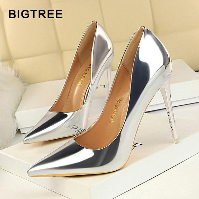 BIGTREE/Новинка, туфли-лодочки из лакированной кожи, модная офисная обувь, женская пикантная обувь на высоком каблуке, женская свадебная Вечерние