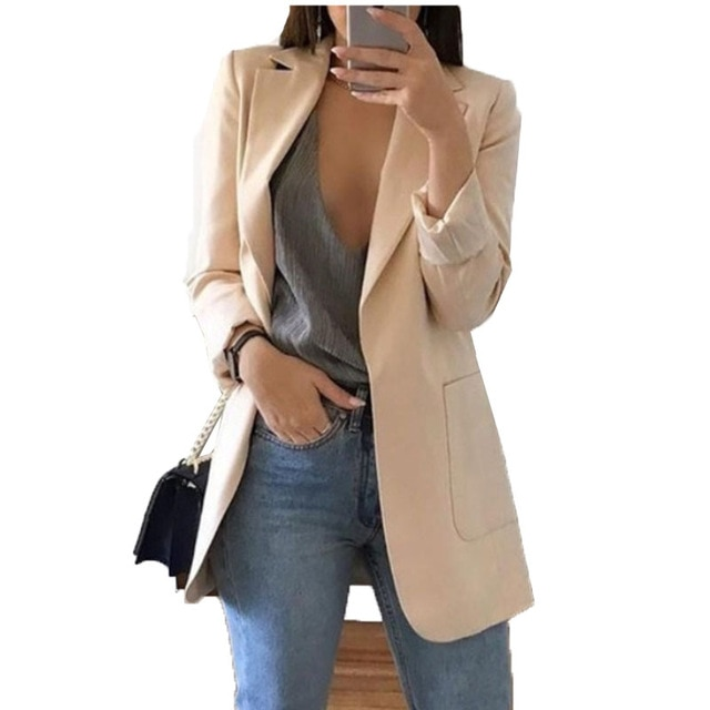 Блейзер Куртки для Для женщин костюм Европейский Стиль 2019 весенние туфли работы Стиль костюм дамы Блейзер длинный рукав блейзер