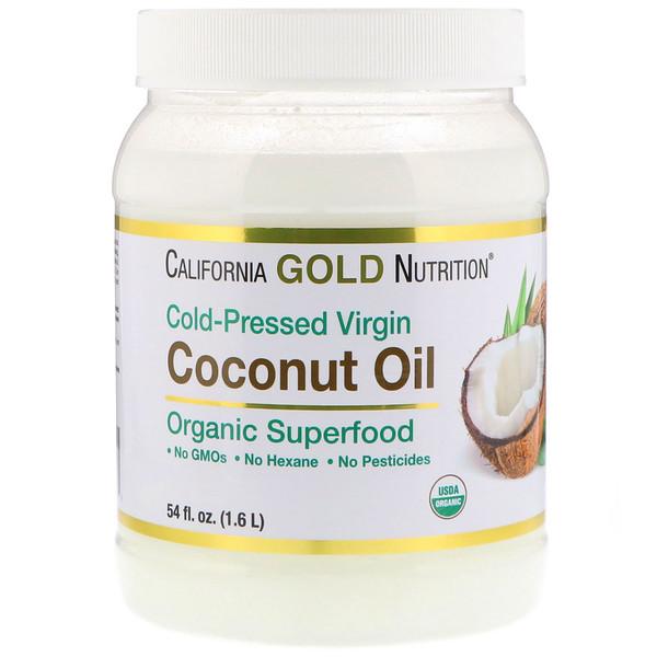 California Gold Nutrition, Органическое нерафинированное кокосовое масло, суперпродукт, холодного отжима, нерафинированное, 54 fl oz (1.6 L)
