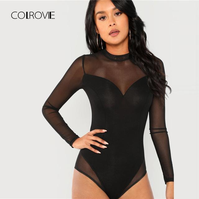 COLROVIE черный сплошной макет средства ухода за кожей Шеи сетки панель для стройных сексуальное боди для женщин осень с длинным рукавом офисные женские базовые