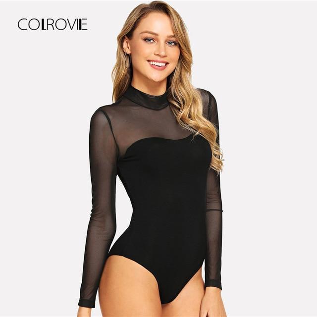 COLROVIE одноцветное Mock Neck Mesh Sheer тощий черный ночь боди Для женщин осень с длинным рукавом сексуальное тело женщины базовые боди