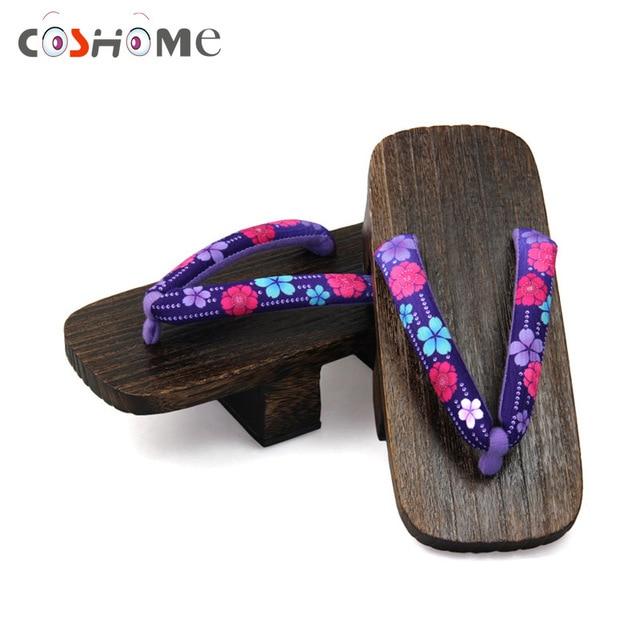 Coshome японский Для женщин гэта Сабо деревянный Paulownia женский Шлёпанцы для женщин аниме Косплэй Обувь для лета