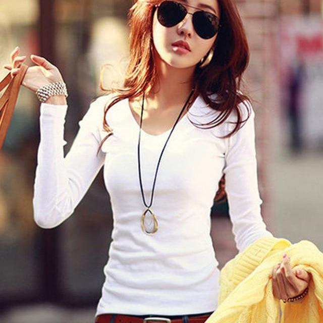 Для женщин футболка с длинным рукавом Для женщин S Топы корректирующие 2017 Демисезонный футболка Для женщин корейский стиль футболка хлопок новый плюс Размеры футболка