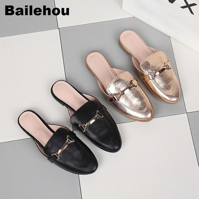 Для женщин тапочки большие размеры 36-41 слипоны Шлёпанцы плоской подошве женская повседневная обувь в британском стиле тапочки с пряжкой горки для улицы на низком каблуке обувь