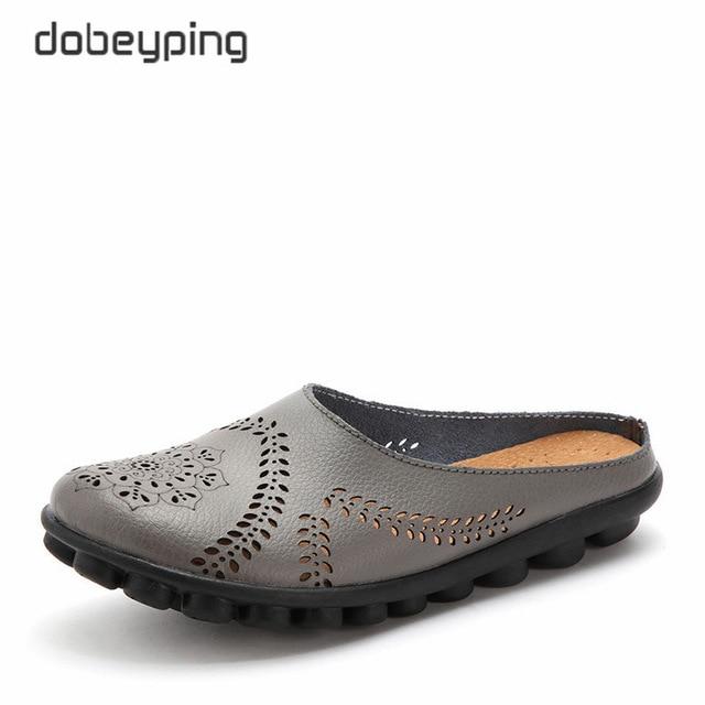 Dobeyping/Новая летняя обувь с вырезами, женская обувь из натуральной кожи на плоской подошве, женские лоферы, Женская однотонная обувь, большие размеры 35-44
