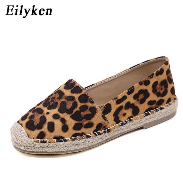 Eilyken леопардовой расцветки дамские туфли на плоской подошве конопли Рыбак эспадрильи Мокасины Повседневное круглый носок Для женщин туфли на плоской подошве размер 35-40