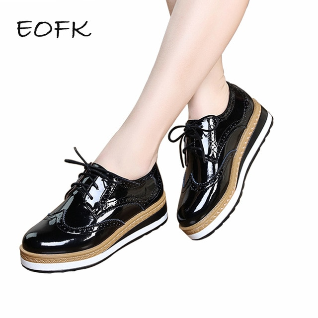 EOFK/Весенняя кожаная женская обувь на плоской платформе с перфорацией типа «броги», Винтажная обувь для женщин, кожаная женская обувь, chaussures femme