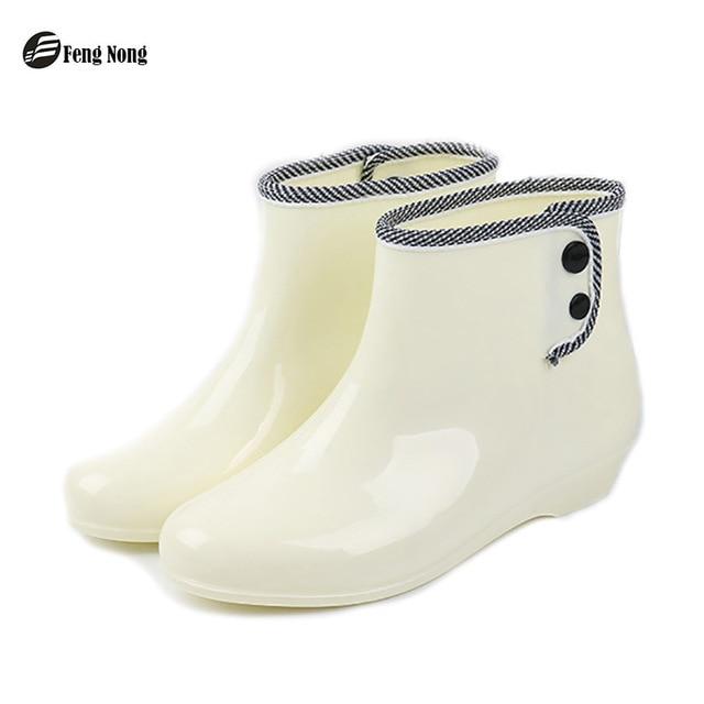 Feng nong/сезон весна-зима, женские резиновые сапоги, женские короткие резиновые сапоги с пуговицами и пряжками, женские сапоги с круглым носком, w018
