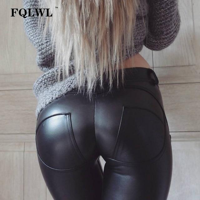 FQLWL плюс размеры искусственная кожа брюки для девочек для женщин эластичный пояс Хип Push Up черные пикантные женские леггинсы жеггинг повседне