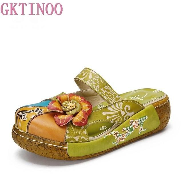 GKTINOO/шлепанцы с цветочным узором, обувь из натуральной кожи, шлепанцы ручной работы, шлепанцы на платформе, сабо для женщин, женские шлепанцы, большие размеры