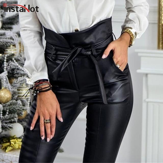InstaHot золотистый и черный пояс с высокой талией карандаш брюки Для женщин искусственная кожа полиуретан пояса повседневные длинные брюки пикантные эксклюзивный дизайн моды