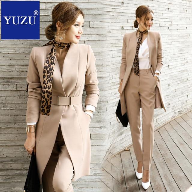 костюм женский Брючный костюм для Для женщин блейзер комплект осень леди Бизнес офисные корейский стиль равномерной v-образным вырезом Длинная куртка Элегантные брюки костюмы