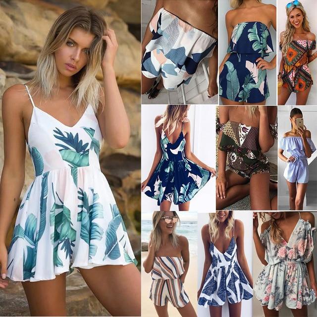 Лето 2019 г. для женщин пляжный комбинезон плюс размеры Принт без рукавов с открытыми плечами короткие комбинезоны для девочек спинки