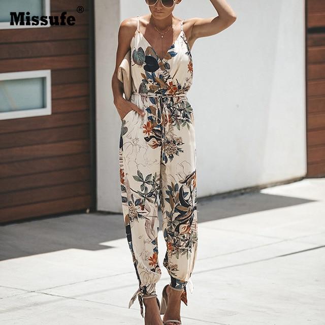 Missufe V образным вырезом сексуальные женские комбинезоны с поясом средства ухода за кожей Femme Macacao Feminino цветочный Playsuit комбинезоны для девочек принтом сезон: весн