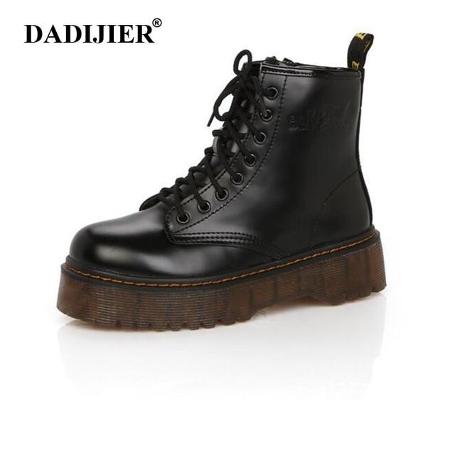 Модные женские ботинки Демисезонный мотоциклетные ботильоны на платформе женские сапоги черные из искусственной кожи обувь Женские ботинки Мартин ST331