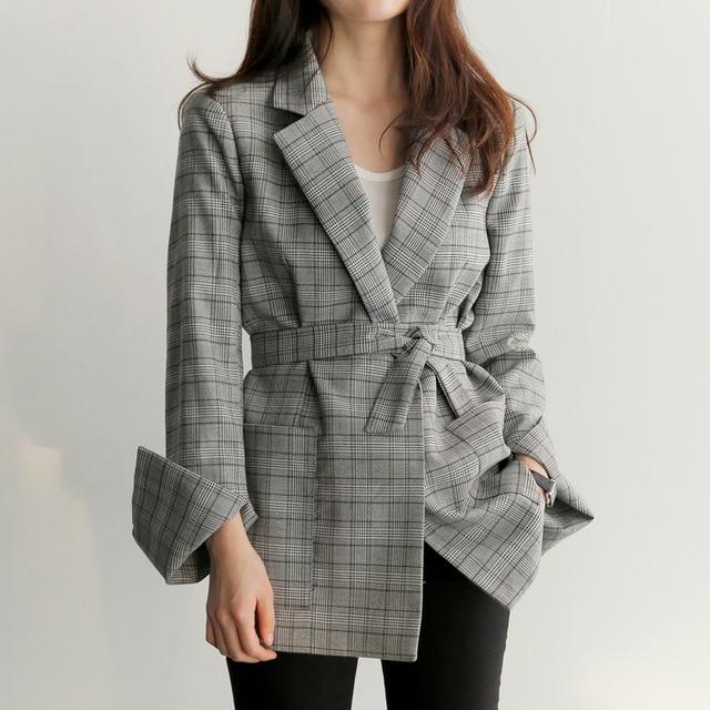 Новинка 2018 года осень для женщин серый плед офисные женские туфли Блейзер Мода лук пояса разделение рукавом куртки элегантная Рабочая