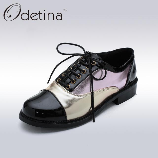 Odetina/2017 г. весенние модные Лоскутные Туфли-оксфорды на шнуровке для женщин, обувь в стиле Дерби на плоской нескользящей подошве, женская повседневная обувь, большой размер 48